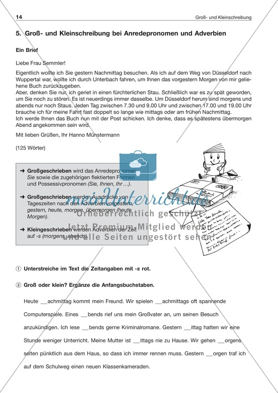 Groß- und Kleinschreibungbei Anredepronomen + Adverbien: Arbeitsblatt + Lösung