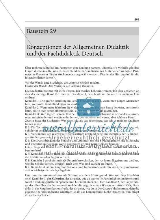 Konzeptionen der Allgemeinen Didaktik und der Fachdidaktik Deutsch: Informationstext für Lehrer