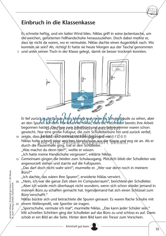 Einbruch in die Klassenkasse: Text + Übung + Lösung