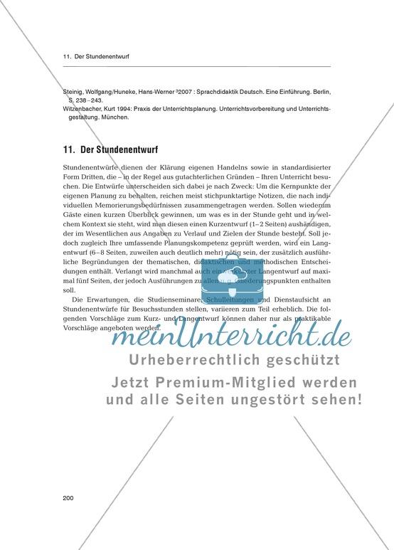 Deutsch unterrichten - Der Stundenentwurf: Fachdidaktischer Beitrag