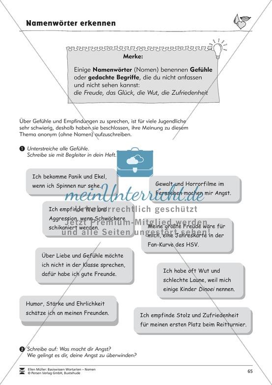 Namenwörter erkennen: Gefühle und Begriffe: Arbeitsblätter und Test