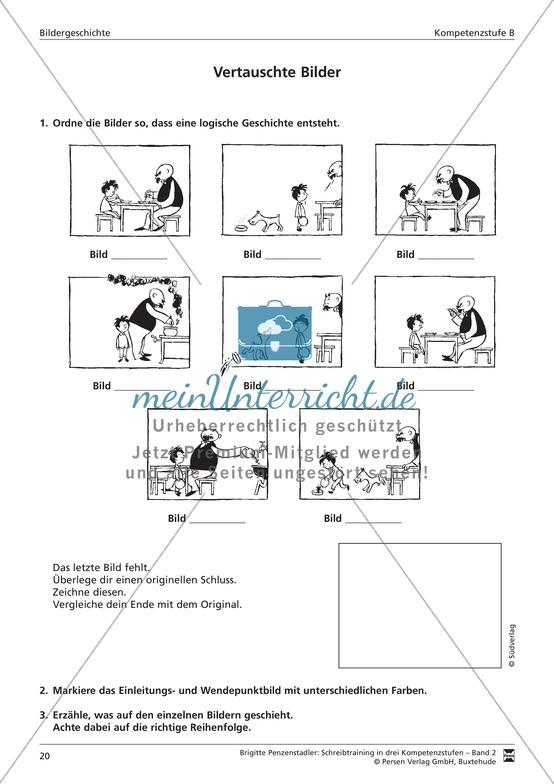 Schreibtraining Bildergeschichte: Kompetenzstufe B: Arbeitsblätter mit Lösungen