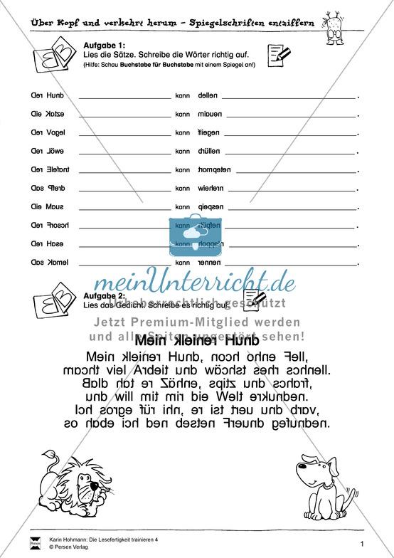 """Leseübungen zur Lesefertigkeit: """"Spiegelschrift"""" Arbeitsblätter + Aufgaben + Lösungen"""