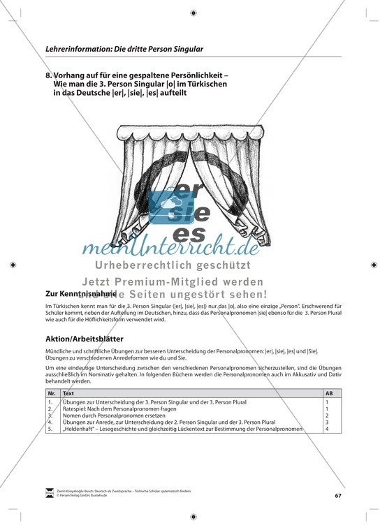Die dritte Person Singular: Lehrerinformationen, Arbeitsblätter und Lösungen