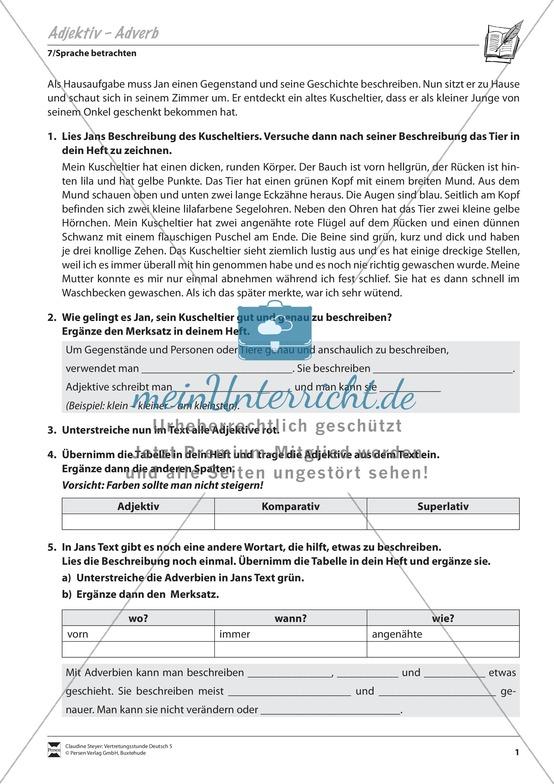 adverbiale bestimmungen unterrichtsmaterial f252r deutsch