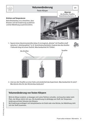 Volumenänderung von Metallen: Schülerversuche in Stationenarbeit