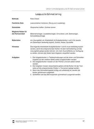 Unterrichtsbeispiel: Lesepuzzle Schmetterling: Arbeitsanweisungen, Arbeitsblätter