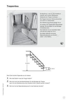 Treppenbau: Aufgaben und Lösungen