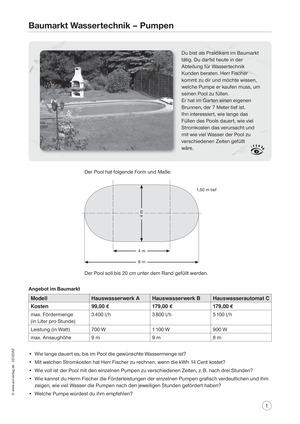 Baumarkt Wassertechnik - Pumpen: Aufgaben und Lösungen