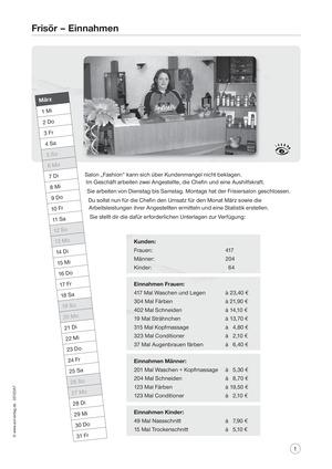 Frisör - Einnahmen: Aufgaben und Lösungen