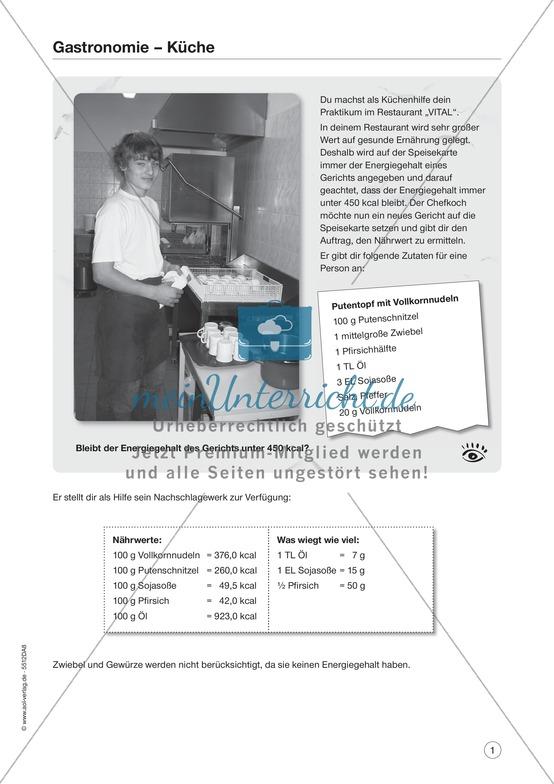 """Berufsalltag - Gastronomie: """"Zutaten und Nährwerte berechnen"""""""