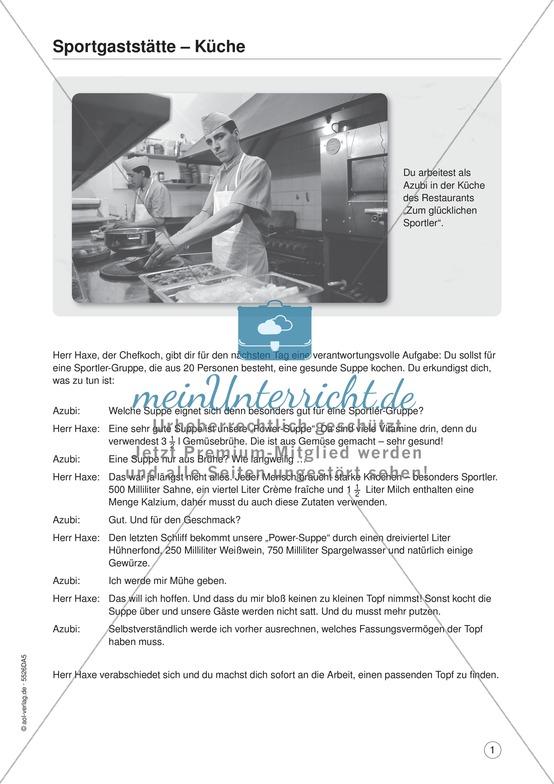 Sportgaststätte - Küche: Aufgaben und Lösungen