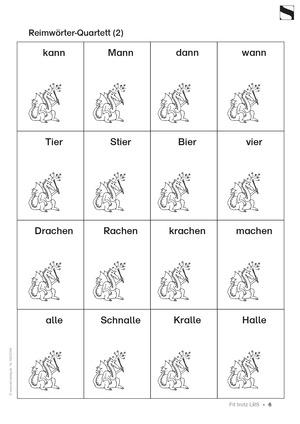"""<b>Leserechtschreibschwäche (LRS) - """"Reimwörter Quartett"""" - Aufgaben + Übungen</b><br> Deutsch • Grundschule • 2. - 4. Klasse<br> 2 Seiten • AOL-Verlag"""