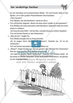 Leseförderung Der verdächtige Nachbar: Text, Arbeitsblätter und Lösungen