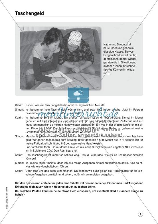 Mein Taschengeld: Mathe-Übungsaufgaben mit Lösung