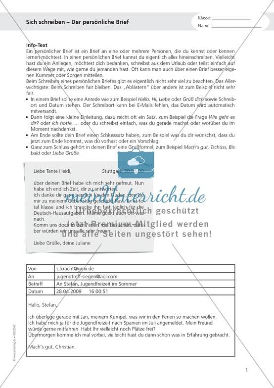 """Alltagskompetenzen: """"Persönliche Briefe schreiben"""" - Infotext + Aufgaben + Lösungen"""
