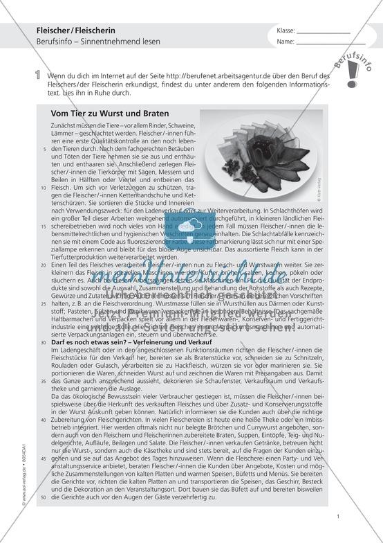 Deutsch-Aufgaben aus dem Berufsalltag - Arbeiten als Fleischer