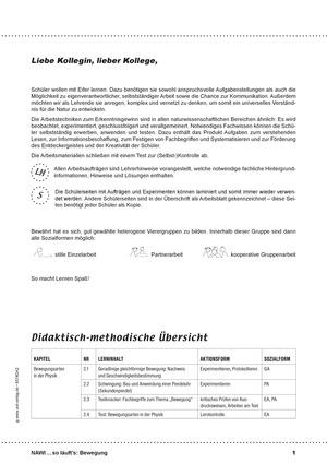 Bewegungsarten in der Physik - geradlinige Bewegung und Schwingung: didaktische Konzeption, Lehrerübersicht, Schülermaterial, Test