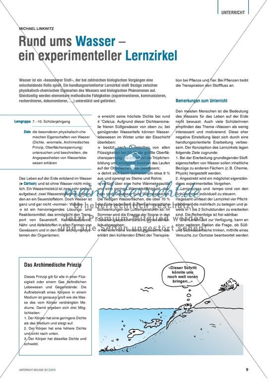 Experimenteller Lernzirkel zur Entdeckung der speziellen physikalisch-chemischen Eigenschaften von Wasser
