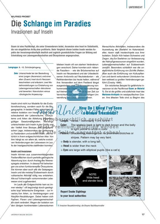 Inselbiologie: Unterschiede bei der Besiedlung von Inseln durch Neozoen untersuchen und diskutieren