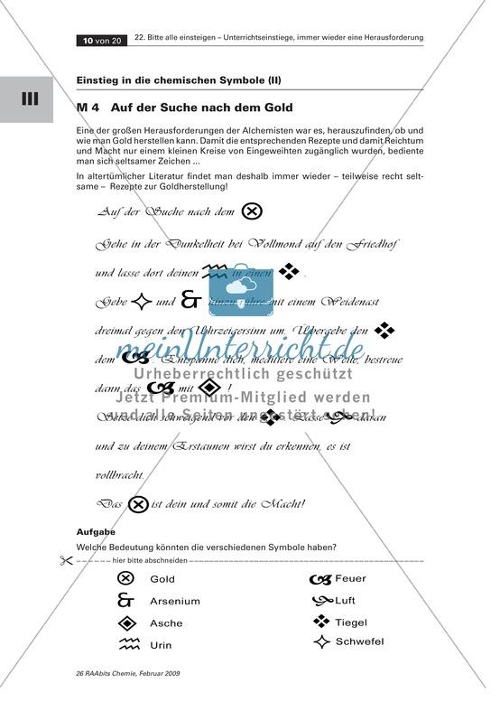 Chemische Symbole - Einstieg mit einem Geheimtext über die Suche nach Gold