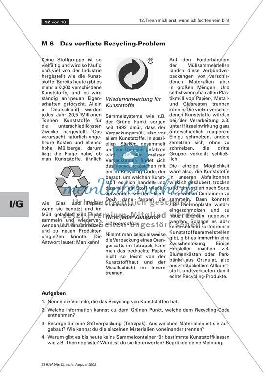 Arbeitsblätter für Chemie Klasse 7 | meinUnterricht