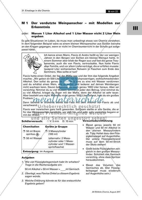 Der Weinpanscher: Teilchenmodell - Warum 1 l Wasser und 1 l Alkohol nicht 2 Liter ergeben