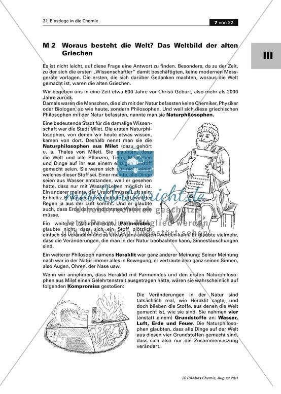 Arbeitsblätter für die 6. Klasse, Chemie| meinUnterricht.de