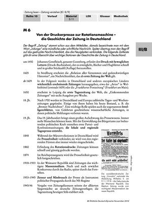 Geschichte der Zeitung in Deutschland und Perspektiven für die Zukunft