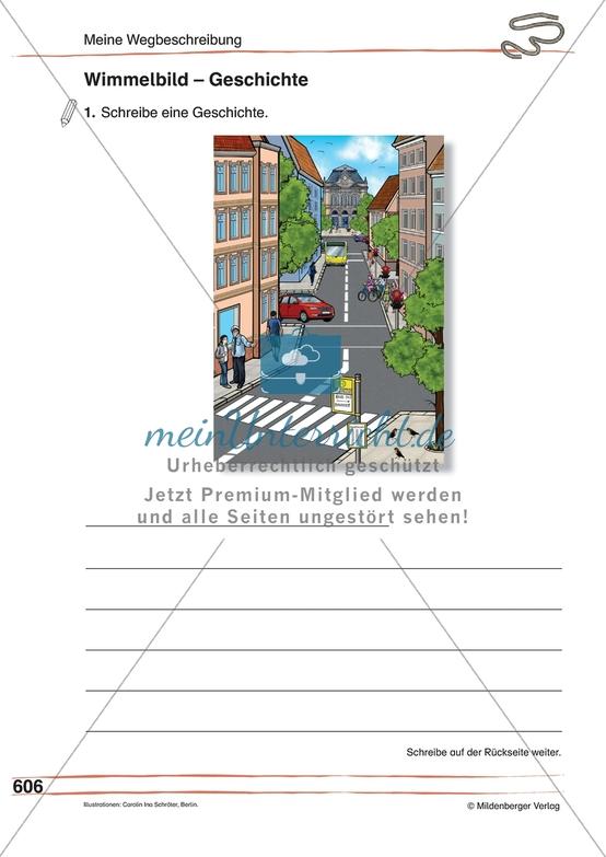"""Kreative Schreib- und Sprechanlässe zum Thema """"Meine Wegbeschreibung"""": Wimmelbild"""