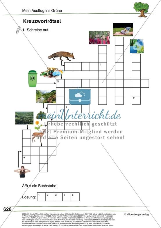 """Wortschatztraining zum Thema """"Mein Ausflug ins Grüne"""": Rätsel"""