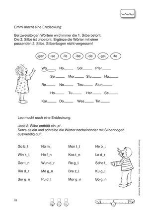 Freiburger Rechtschreibschule: Übungsblätter zu zweisilbigen Wörtern