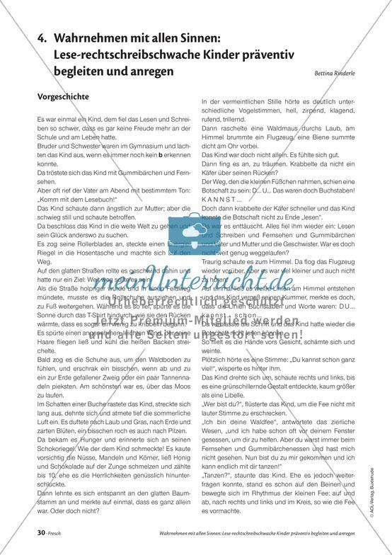 Infotext: Wahrnehmen mit allen Sinnen: Lese-rechtschreibschwache Kinder präventiv begleiten und anregen