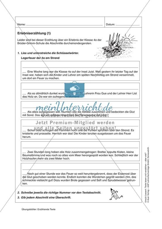 Erzählende Texte lesen und verstehen: Eine Erlebniserzählung richtig gliedern + richtige Aussagen erkennen