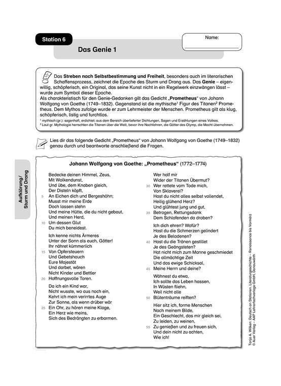 Aufklärung / Sturm und Drang: Das Genie. Arbeitsmaterial mit Erläuterungen