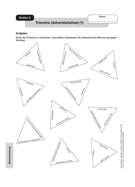 Triomino zu Adverbialsätzen: Arbeitsmaterial mit Lösungen
