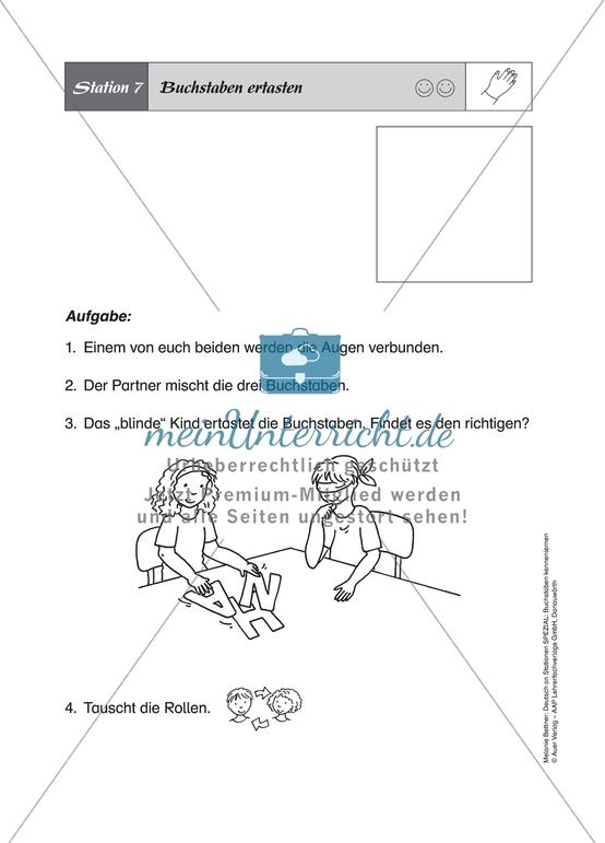 Haptische Aufgaben zur Buchstabenerkennung: Buchstaben ertasten und Buchstabenpuzzle. Arbeitsmaterial