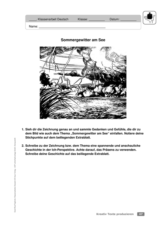Differenzierte Klassenarbeit zur Textproduktion: Zu Bildern schreiben