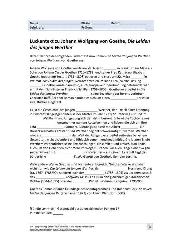 Lückentext zu Johann Wolfgang von Goethe, Die Leiden des jungen Werther