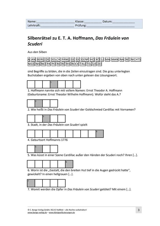 Silbenrätsel zu E.T.A. Hoffmann, Das Fräulein von Scuderi