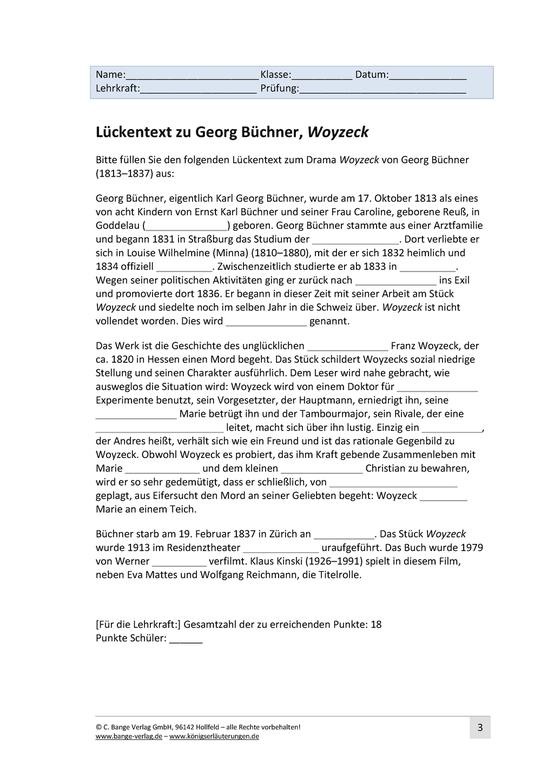 Lückentext zu Georg Büchner, Woyzeck