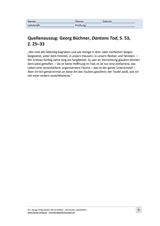 Aufgaben mit Lösungen zu Georg Büchner, Dantons Tod