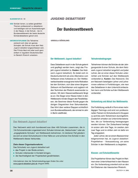 Gespräche steuern: Der Bundeswettbewerb - Jugend debattiert