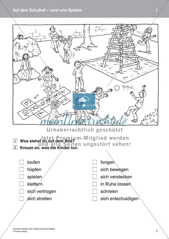 Auf dem Schulhof: Einführung von Verben rund ums Spielen. DaZ-Material