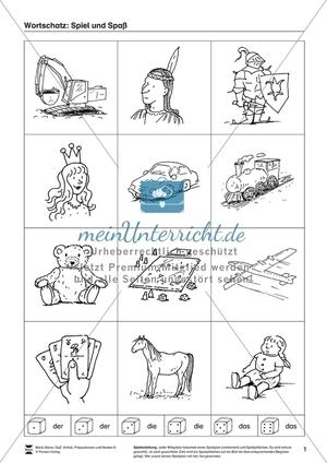 Wortschatz und Artikel rund um Spiel und Spaß: Arbeitsmaterial