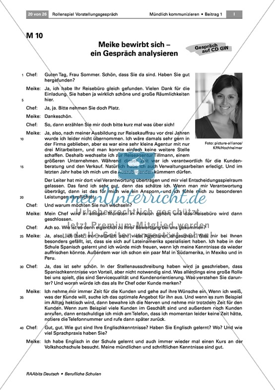 Thema Bewerbung: Ein Bewerbungsgespräch analysieren