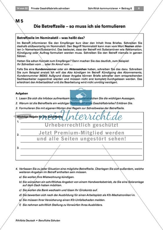 Deutsch Berufliche Schule Arbeitsblätter Auf Meinunterrichtde