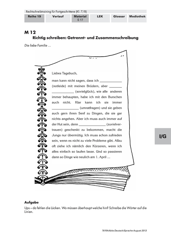 Deutsch 8. Klasse: Arbeitsblätter und Übungen | meinUnterricht