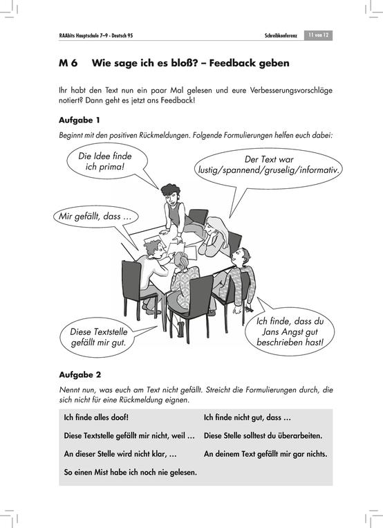 Schreibkonferenz: Feedback geben - Aufgaben + Lösungen