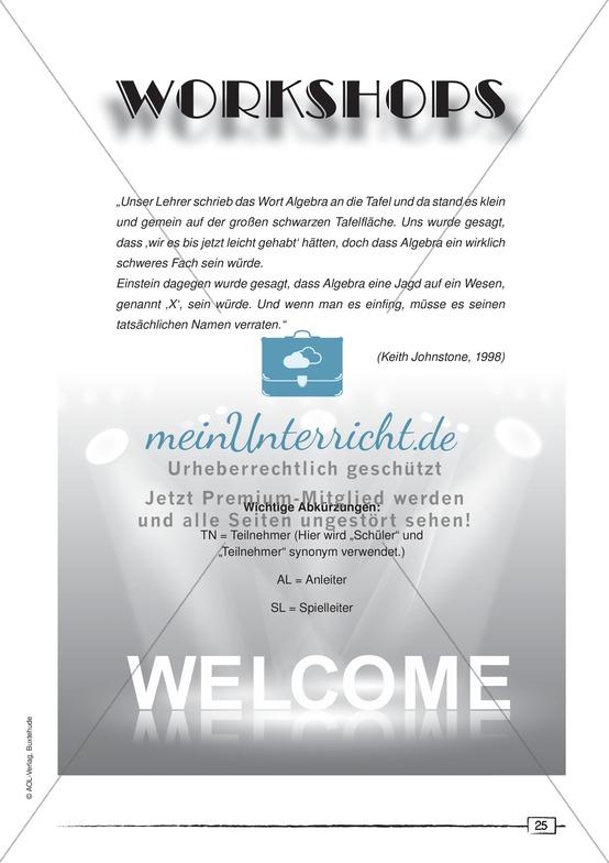 Vorschläge für Dramapädagogische Workshops zur  Vermittlung der englischen bzw. deutschen Sprache